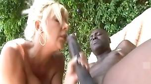 Big titted mature blonde moves up and down the length of lover`s dork.