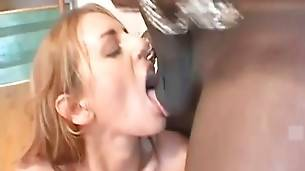 Babe tastes her pussy juices from black dude`s massive shaft.