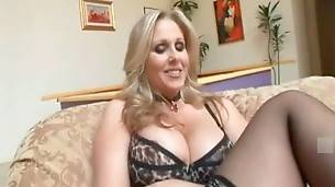 Milf in sexy underwear and stockings waits for her black partner.