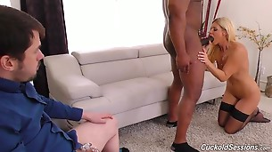 Dr. Summer`s first act is to cage his little pee-pee; only real men get to cum today! Then Dr. Summer marches out her associate, Dr. Davin King. He`s the true definition of a Bull, from his chiseled muscles to his huge, uncut slab of black meat. It`s time